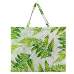 Fern Leaves Zipper Large Tote Bag