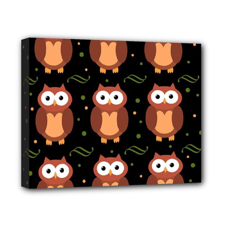 Halloween brown owls  Canvas 10  x 8