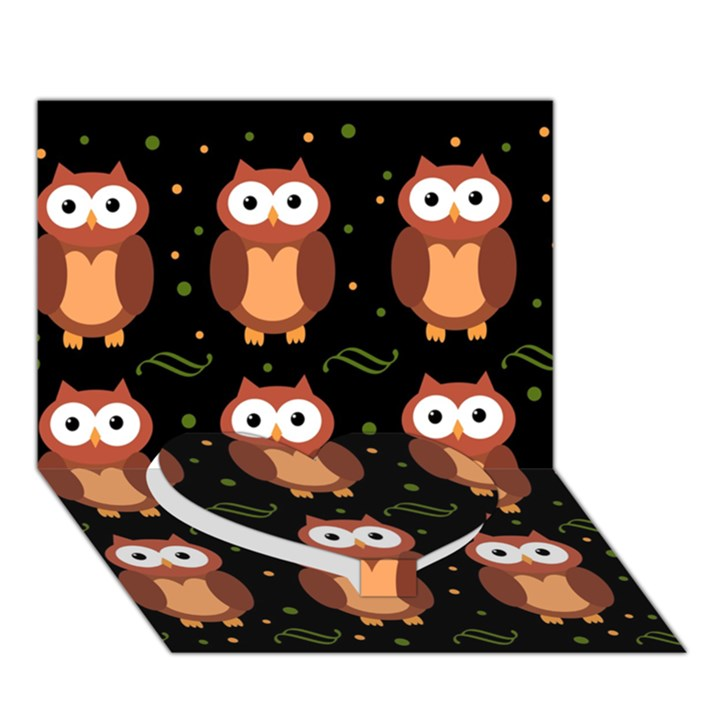Halloween brown owls  Heart Bottom 3D Greeting Card (7x5)