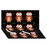 Halloween brown owls  Twin Heart Bottom 3D Greeting Card (8x4)