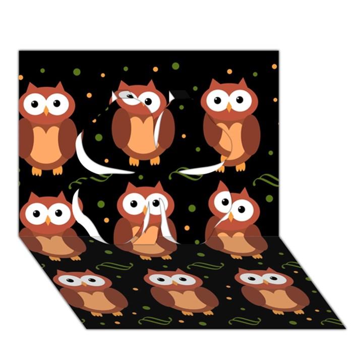 Halloween brown owls  Clover 3D Greeting Card (7x5)