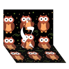 Halloween Brown Owls  Ribbon 3d Greeting Card (7x5) by Valentinaart