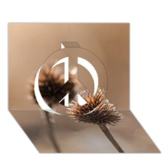 Withered Globe Thistle In Autumn Macro Peace Sign 3d Greeting Card (7x5)