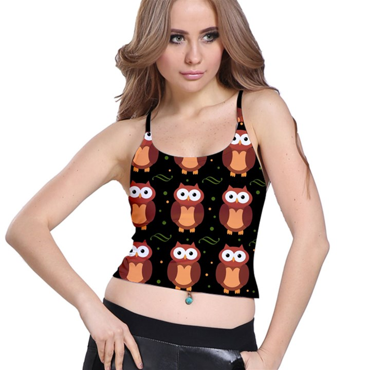 Halloween brown owls  Spaghetti Strap Bra Top