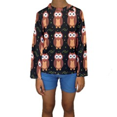Halloween brown owls  Kids  Long Sleeve Swimwear