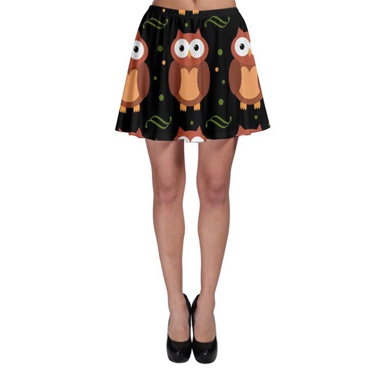 Halloween brown owls  Skater Skirt