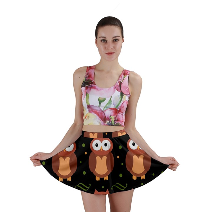 Halloween brown owls  Mini Skirt