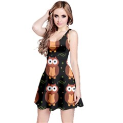 Halloween brown owls  Reversible Sleeveless Dress