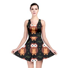 Halloween brown owls  Reversible Skater Dress