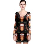 Halloween brown owls  Long Sleeve Bodycon Dress