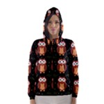 Halloween brown owls  Hooded Wind Breaker (Women)