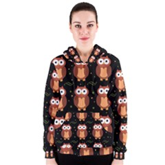 Halloween brown owls  Women s Zipper Hoodie