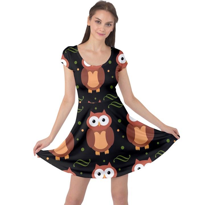 Halloween brown owls  Cap Sleeve Dresses