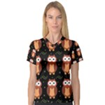 Halloween brown owls  Women s V-Neck Sport Mesh Tee