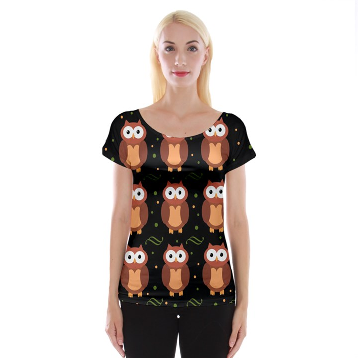 Halloween brown owls  Women s Cap Sleeve Top