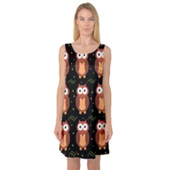 Halloween brown owls  Sleeveless Satin Nightdress