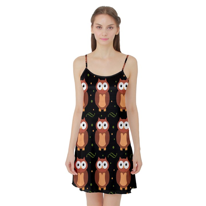 Halloween brown owls  Satin Night Slip