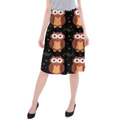Halloween brown owls  Midi Beach Skirt