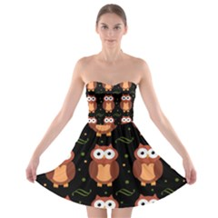 Halloween brown owls  Strapless Bra Top Dress