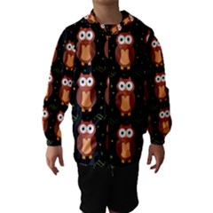 Halloween brown owls  Hooded Wind Breaker (Kids)