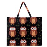 Halloween brown owls  Zipper Large Tote Bag