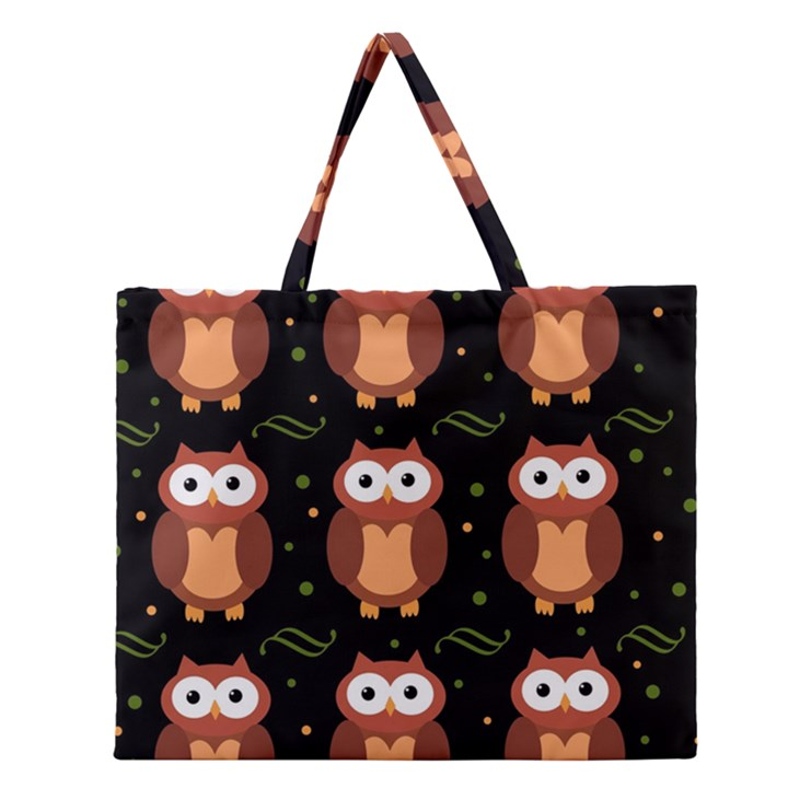 Halloween brown owls  Zipper Large Tote Bag