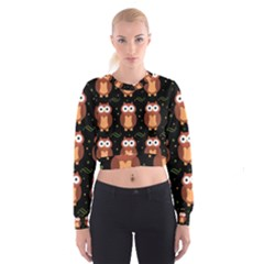 Halloween brown owls  Women s Cropped Sweatshirt
