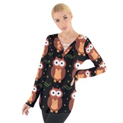 Halloween brown owls  Women s Tie Up Tee