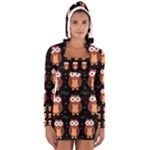 Halloween brown owls  Women s Long Sleeve Hooded T-shirt