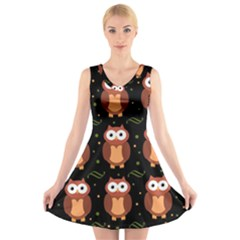 Halloween brown owls  V-Neck Sleeveless Skater Dress