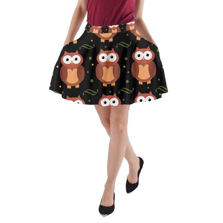 Halloween brown owls  A-Line Pocket Skirt