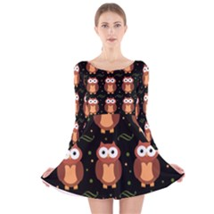 Halloween brown owls  Long Sleeve Velvet Skater Dress