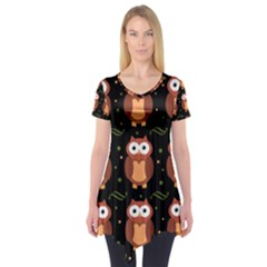 Halloween brown owls  Short Sleeve Tunic