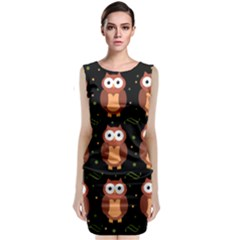 Halloween brown owls  Classic Sleeveless Midi Dress