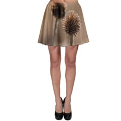 Withered Globe Thistle In Autumn Macro Skater Skirt