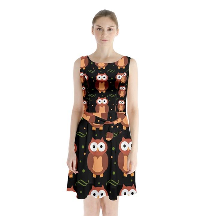 Halloween brown owls  Sleeveless Chiffon Waist Tie Dress
