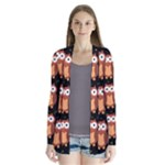 Halloween brown owls  Drape Collar Cardigan