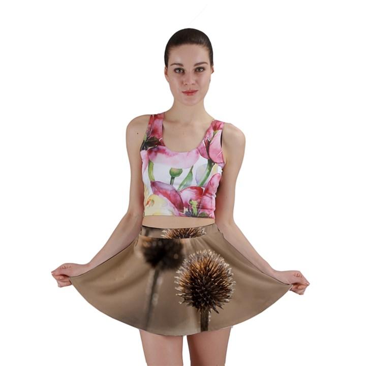 Withered Globe Thistle In Autumn Macro Mini Skirt