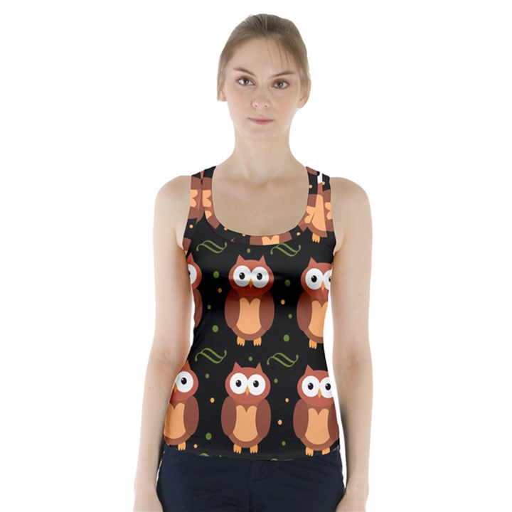 Halloween brown owls  Racer Back Sports Top
