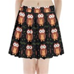 Halloween brown owls  Pleated Mini Skirt