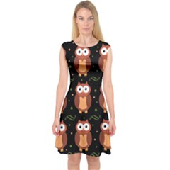 Halloween Brown Owls  Capsleeve Midi Dress