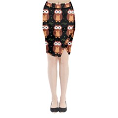 Halloween brown owls  Midi Wrap Pencil Skirt