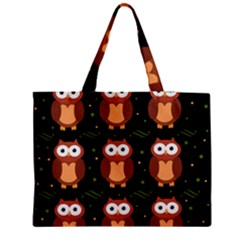 Halloween Brown Owls  Medium Zipper Tote Bag by Valentinaart