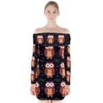 Halloween brown owls  Long Sleeve Off Shoulder Dress