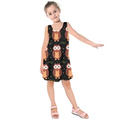 Halloween brown owls  Kids  Sleeveless Dress