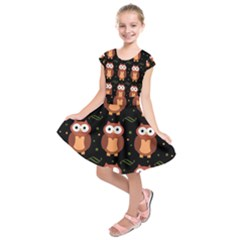Halloween brown owls  Kids  Short Sleeve Dress