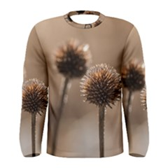 Withered Globe Thistle In Autumn Macro Men s Long Sleeve Tee