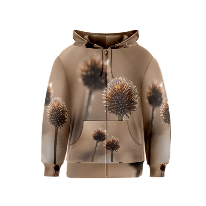 Withered Globe Thistle In Autumn Macro Kids  Zipper Hoodie