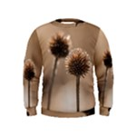 Withered Globe Thistle In Autumn Macro Kids  Sweatshirt