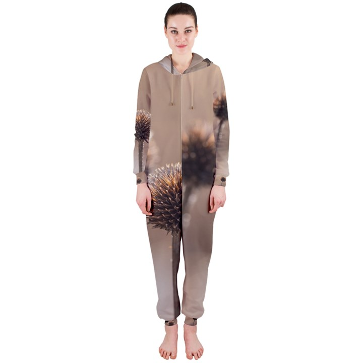 Withered Globe Thistle In Autumn Macro Hooded Jumpsuit (Ladies)